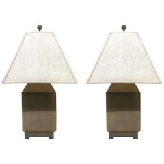 Pair of Aged Brass Table Lamps by Mastercraft