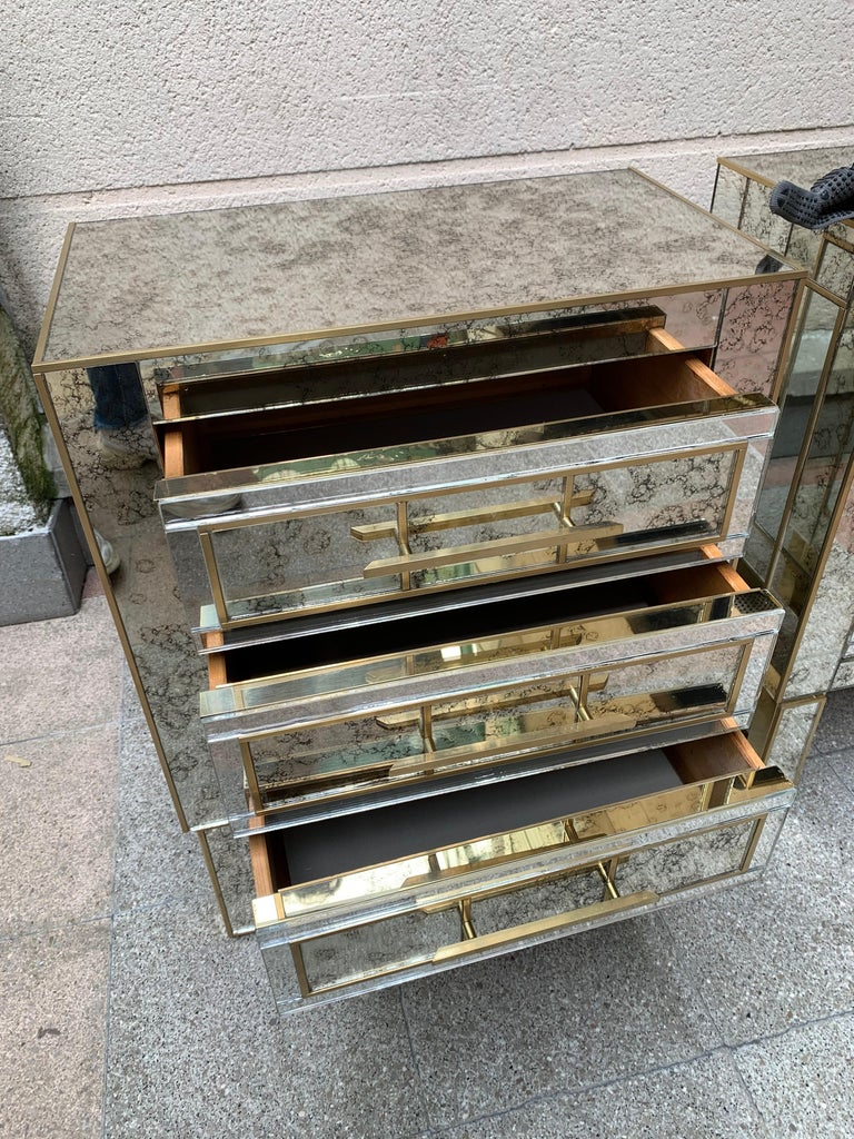 Pair of Aged Mirror Bedside Tables Italian Work, circa 1980 In Good Condition For Sale In Saint ouen, FR