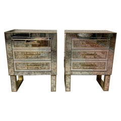 Pair of Aged Mirror Bedside Tables Italian Work, circa 1980