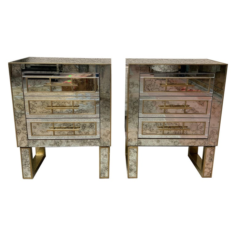 Pair of Aged Mirror Bedside Tables Italian Work, circa 1980 For Sale