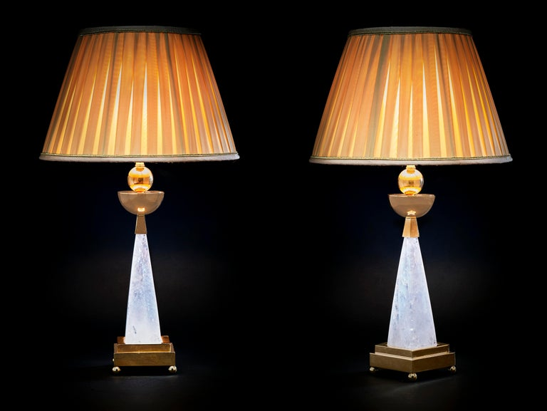 Pair of AIKO 2 rock crystal pair of lamps.