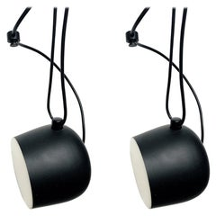 Pair of AIM, LED Pendant Lights in Black by Flos Made in Italy