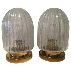 Pair of Air Bubble Glass and Brass Cactus Shape Table Lamps by Doria Germany