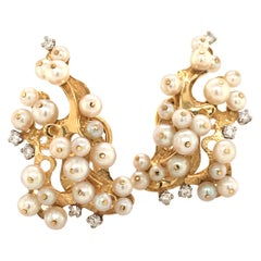 Pair of Akoya Pearl Yellow Gold Earclips