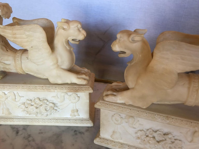 Pair of Alabaster 19th Century Seated Sphinxes on Pedestals Bookends or Statues For Sale 6