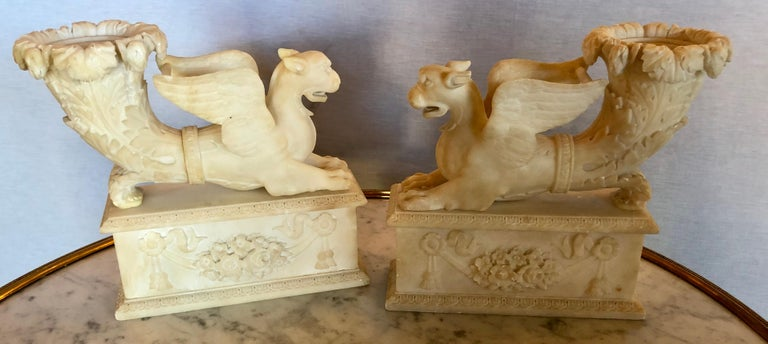 Pair of Alabaster 19th Century Seated Sphinxes on Pedestals Bookends or Statues For Sale 8