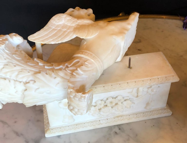 20th Century Pair of Alabaster 19th Century Seated Sphinxes on Pedestals Bookends or Statues For Sale