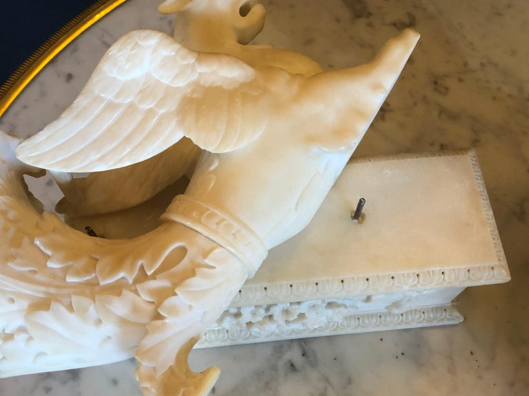 Pair of Alabaster 19th Century Seated Sphinxes on Pedestals Bookends or Statues For Sale 1