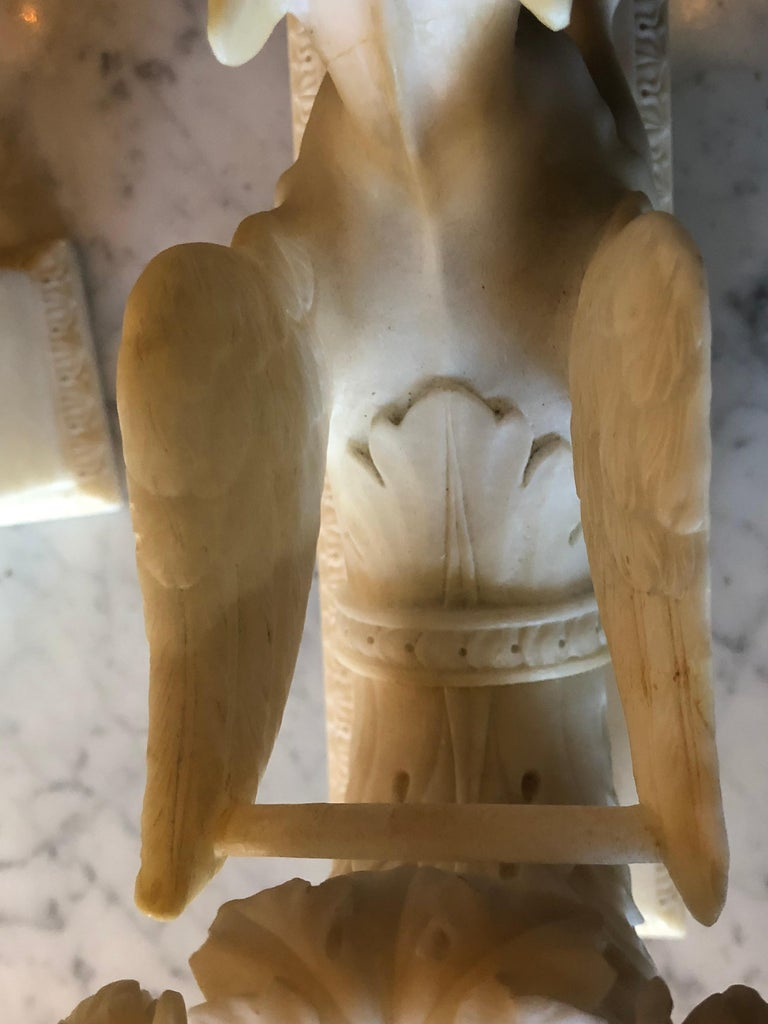 Pair of Alabaster 19th Century Seated Sphinxes on Pedestals Bookends or Statues For Sale 2