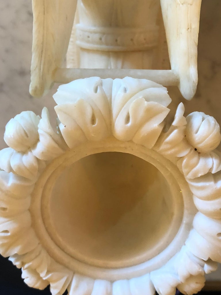 Pair of Alabaster 19th Century Seated Sphinxes on Pedestals Bookends or Statues For Sale 3