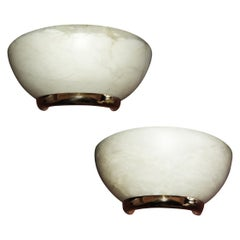 Pair of Alabaster and Brass Design Wall Sconces, 20th Century
