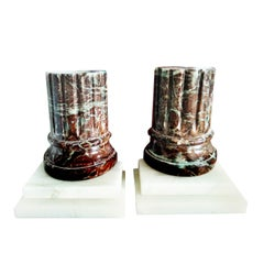Pair of   Bookends Alabaster and Marble  Column Form