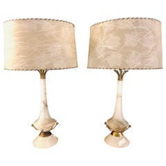 Pair of Alabaster Art Deco Lamps with Original Shades
