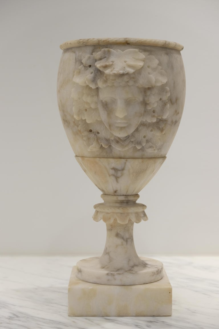 Grand Tour carved alabaster vases in goblet form with Dionysus heads. Elegant and decorative with a gorgeous patina.