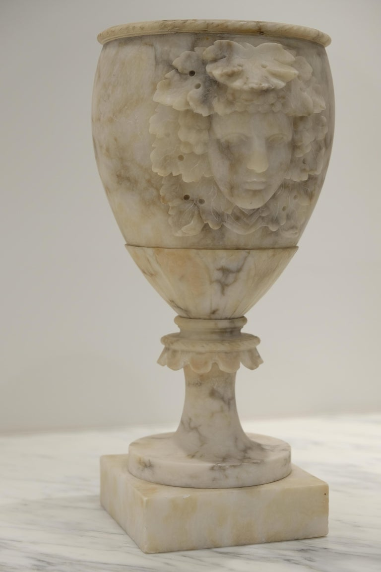 Grand Tour Pair of Alabaster Goblets with Dionysus Heads