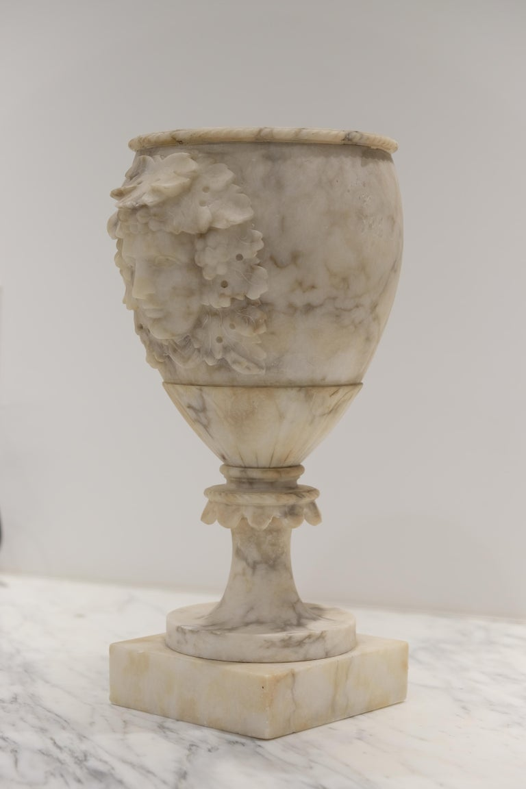 Italian Pair of Alabaster Goblets with Dionysus Heads