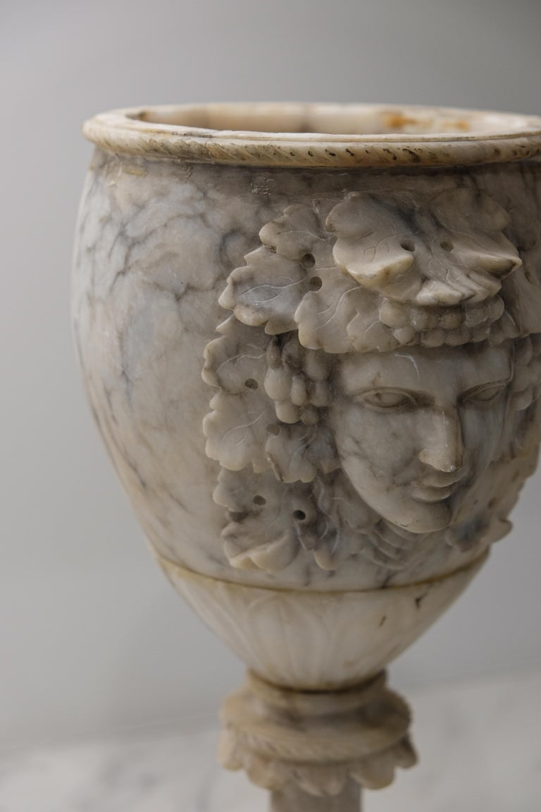 Hand-Carved Pair of Alabaster Goblets with Dionysus Heads