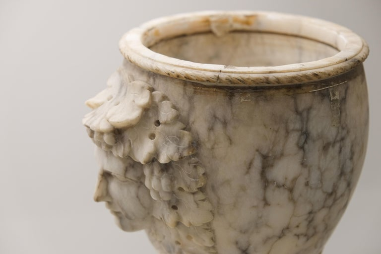 Pair of Alabaster Goblets with Dionysus Heads In Good Condition In  Richmond, VA