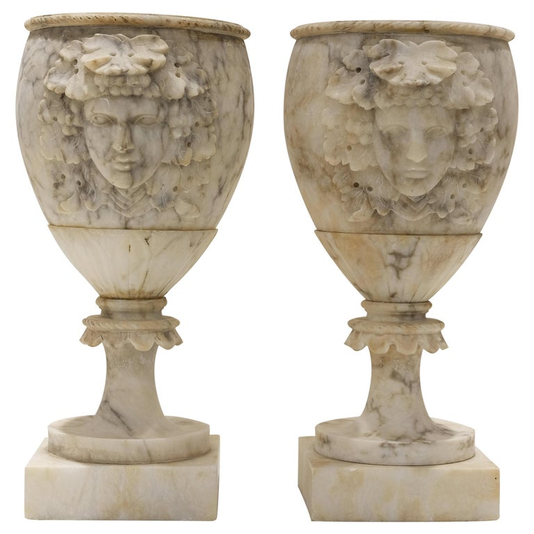 Pair of Alabaster Goblets with Dionysus Heads