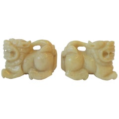 Pair of Alabaster Marble Foo Dogs