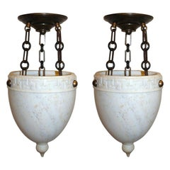Pair of Alabaster Pendant Fixtures, Sold Individually