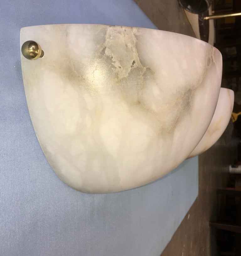 Pair of Alabaster Sconces by Lightolier For Sale 3