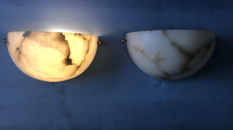 Pair of Alabaster Sconces by Lightolier For Sale 9
