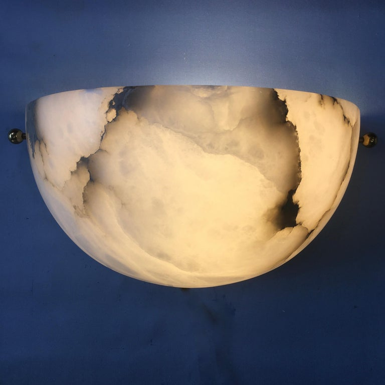 Pair of Alabaster Sconces by Lightolier In Good Condition For Sale In Hingham, MA