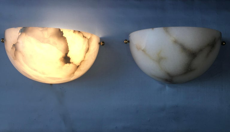 Late 20th Century Pair of Alabaster Sconces by Lightolier For Sale