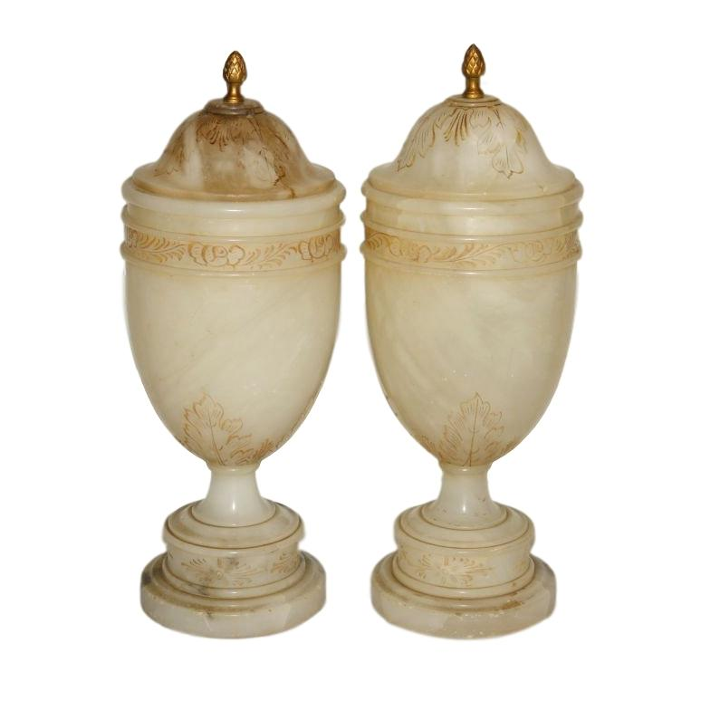 Pair of Alabaster Urn Table Lamps