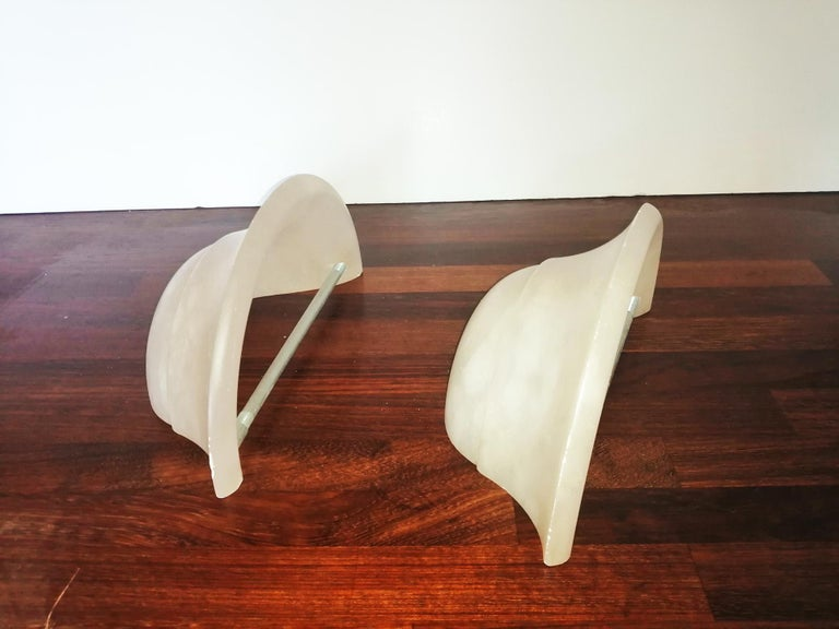 Italian Pair of Alabaster Wall Sconces Ivory Color and Small Size Spain, 20th Century For Sale