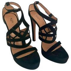 Pair of Alaïa Black Laser Cut Lattice Strap Suede Leather Stiletto Heel Sandals