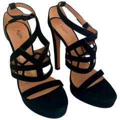 Pair of Alaïa Black Laser Cut Lattice Strap Suede Leather Stiletto Heel Sandals
