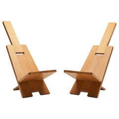 "Pair of Alain Gaubert ""Africanist"" Chairs, France, 1980s"