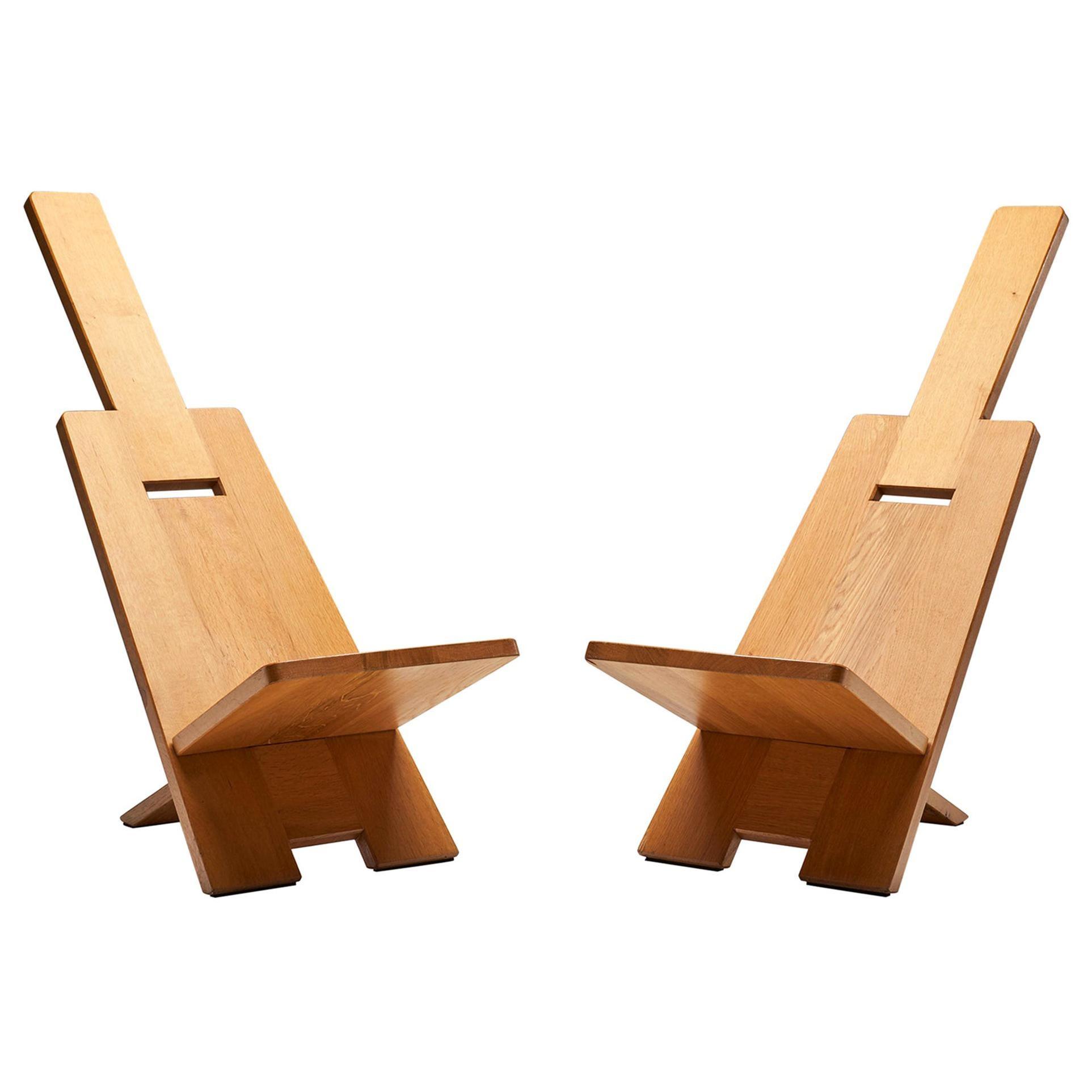 "Pair of Alain Gaubert ""Africanist"" Chairs, France, 1980s"