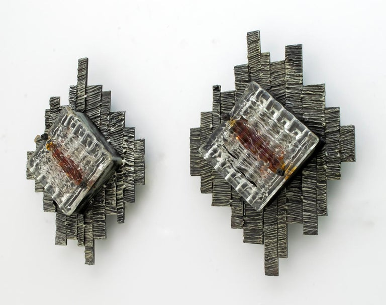 Italian Pair of Albano Poli Brutalist Style Murano Glass Sconces by Poliarte, 1970s For Sale