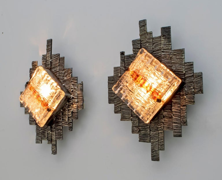 Pair of Albano Poli Brutalist Style Murano Glass Sconces by Poliarte, 1970s In Good Condition For Sale In Cerignola, Italy Puglia