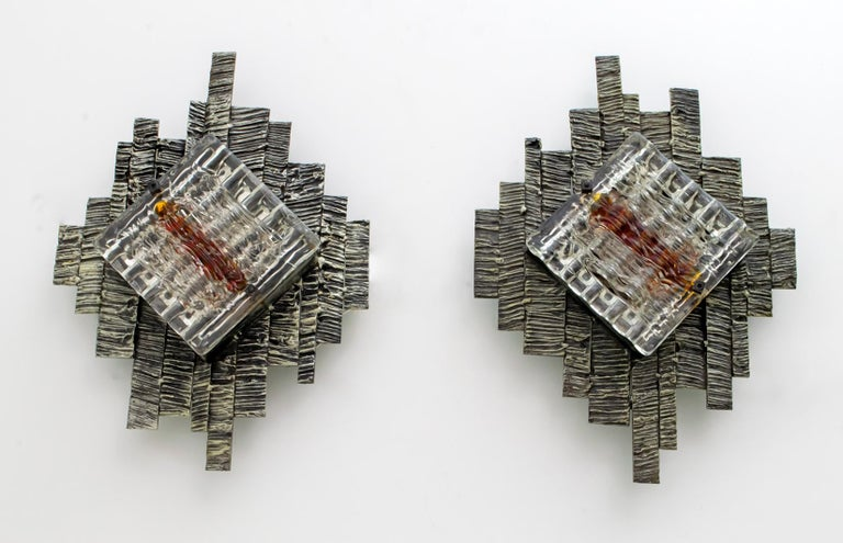 Pair of Albano Poli Brutalist Style Murano Glass Sconces by Poliarte, 1970s For Sale 3
