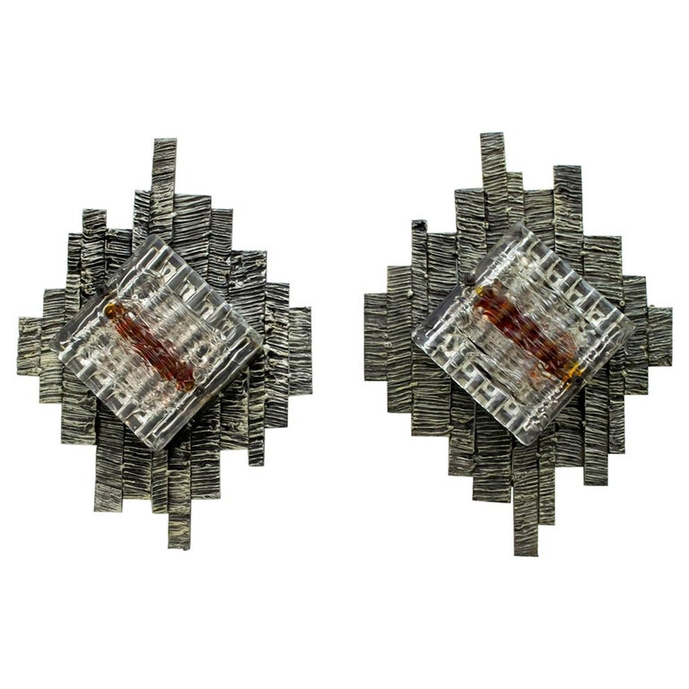 Pair of Albano Poli Brutalist Style Murano Glass Sconces by Poliarte, 1970s For Sale