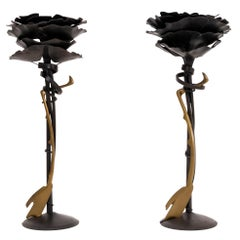 Pair of Albert Paley Blossom Candlesticks