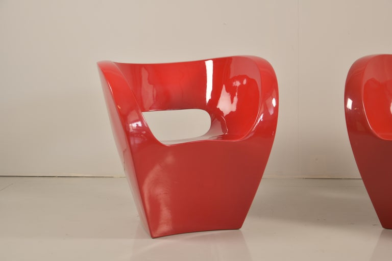 Mid-Century Modern Pair of  Albert Red Armchairs by Ron Arad in 2000 for Moroso For Sale