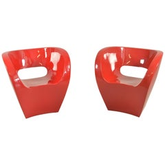 Pair of  Albert Red Armchairs by Ron Arad in 2000 for Moroso