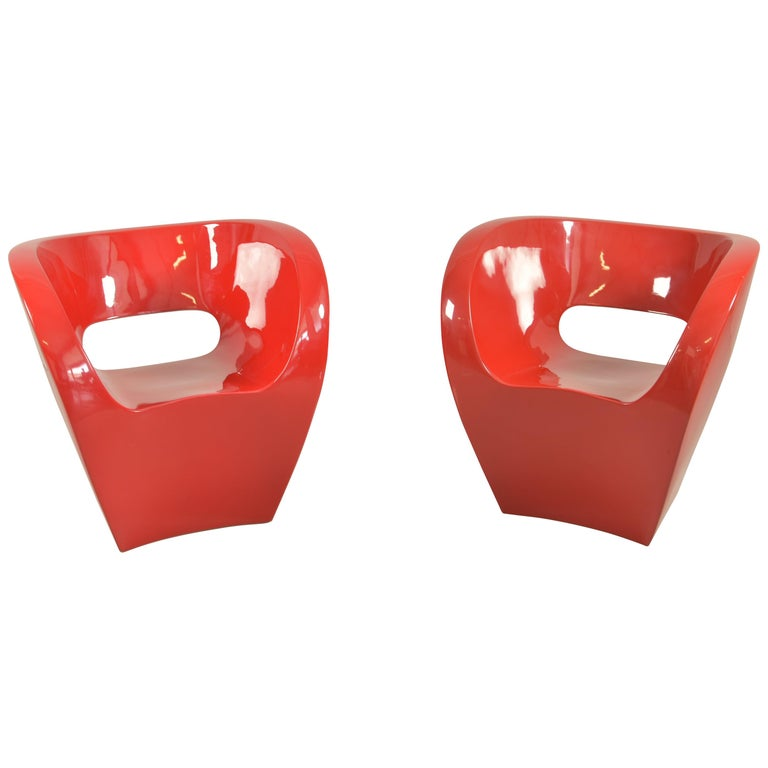 Pair of  Albert Red Armchairs by Ron Arad in 2000 for Moroso For Sale