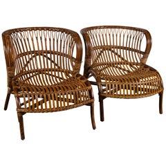 Pair of Albini Rattan Lounge Chairs