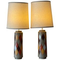 Pair of Aldo Londi Bitossi Cermaic Lamps Harlequin Pattern