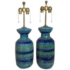 Pair of Aldo Londi Bitossi Midcentury Ceramic Lamps