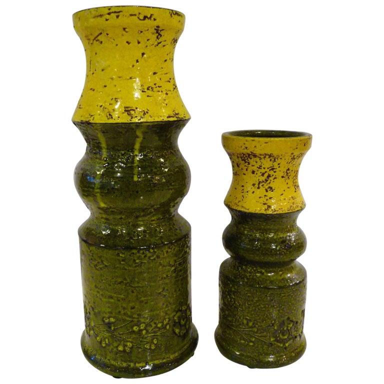 Pair of Aldo Londi for Bitossi Modern Pottery Vases Rosenthal Netter Italy 1960s