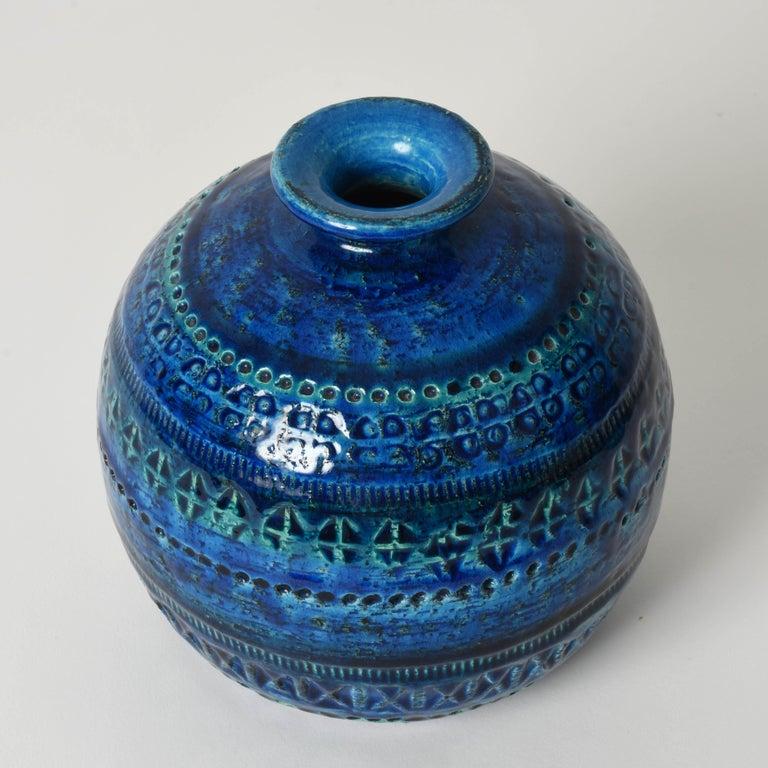 Pair of Aldo Londi Terracotta Ceramic Rimini Blue Vases for Bitossi, Italy 1960s For Sale 3