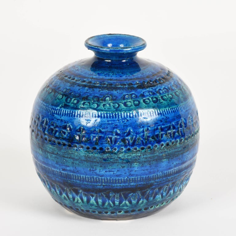 Pair of Aldo Londi Terracotta Ceramic Rimini Blue Vases for Bitossi, Italy 1960s For Sale 4
