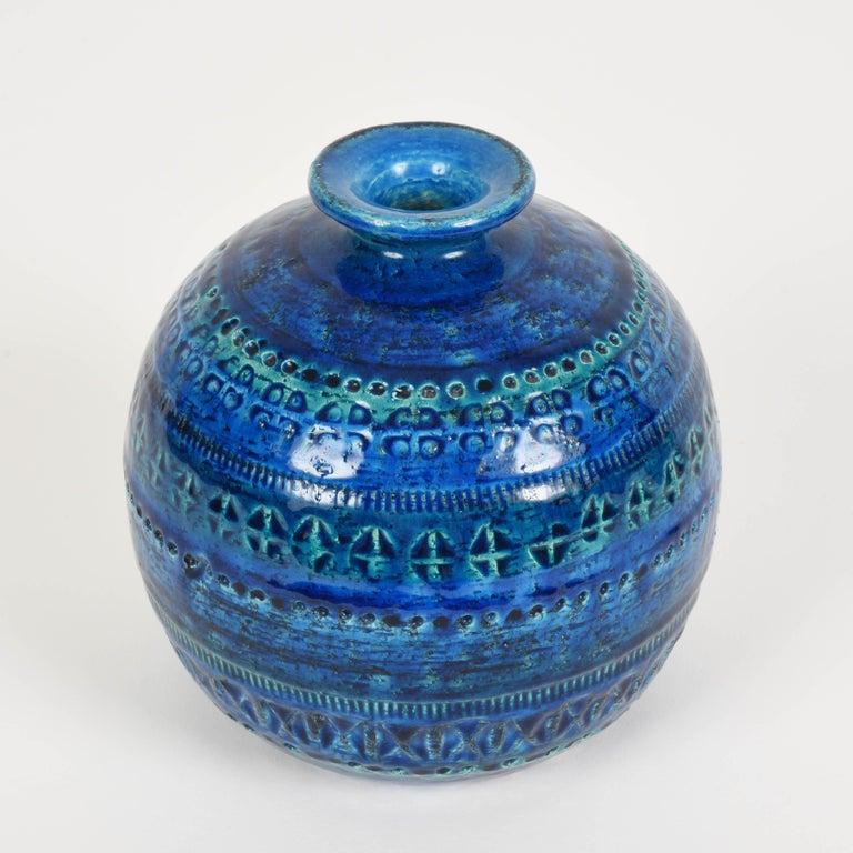 Pair of Aldo Londi Terracotta Ceramic Rimini Blue Vases for Bitossi, Italy 1960s For Sale 5